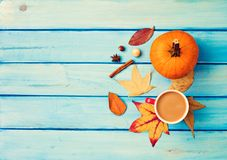 Coffee, pumpkin and spices Royalty Free Stock Photography