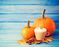 Coffee, pumpkins and spices Royalty Free Stock Photos