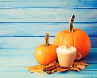 Coffee, pumpkins and spices Royalty Free Stock Photo