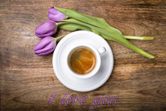 Coffee and purple Royalty Free Stock Image