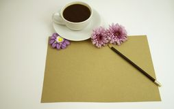 Coffee and purple flower background and greeting card or blank card royalty free stock photos