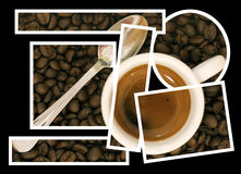 Coffee puzzle collage stock photography