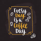 Coffee quote. Modern calligraphy style handwritten brush ink lettering. Hand drawn elements and beverage phrase. Vector illustration for cards, leaflets, cups stock illustration