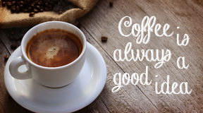 Coffee Quote. Next to cup of coffee royalty free stock photos