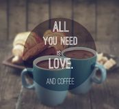 Coffee quote. Quote on coffee photo background royalty free stock images