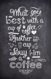 Coffee Quote written with chalk on a black board. Coffee Quote written with chalk stock images