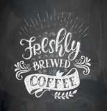 Coffee quotes on the chalk board. stock illustration