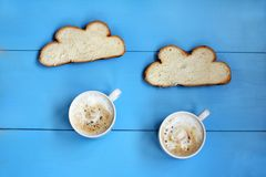 Coffee rain in clouds of toast Royalty Free Stock Photo