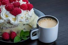 Coffee with raspberry cake Royalty Free Stock Photo