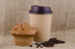 Coffee and raspberry muffin Stock Photos