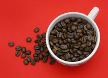 Coffee Red Background Stock Photos