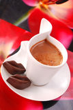 Coffee with red chocolate lips Royalty Free Stock Photography