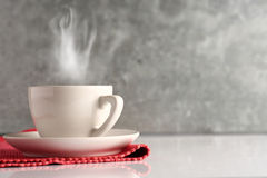 Coffee on red cloth Stock Photos