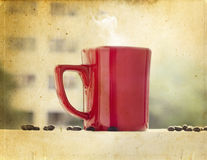 Coffee red cup on balcony in vintage Royalty Free Stock Photos