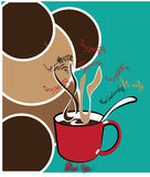 Coffee in red cup Royalty Free Stock Photos