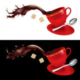 Coffee in red Cup. Illustration on white and black background Stock Photo