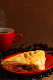 Coffee red cup  and mushroom puff pastry. Royalty Free Stock Photos