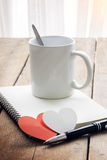 Coffee, red heart, notebook and pen Royalty Free Stock Photography