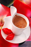Coffee with red lips from chocolate Stock Photos