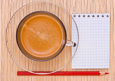Coffee, red pen Royalty Free Stock Photo