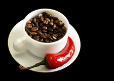 Coffee and Red Pepper Stock Photography