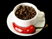Coffee and Red Pepper stock images