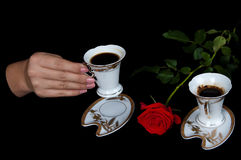 Coffee and red rose Stock Images