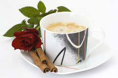 Coffee, red rose and cinnamon Royalty Free Stock Image