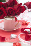 Coffee And Red Roses Stock Photos
