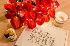 Coffee and red tulips stock photo