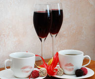Coffee and red wine stock photography