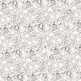 Coffee related doodle pattern background.Tableware,beans,letteri Stock Photo