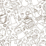 Coffee related doodle seamless pattern.Tableware,beans,lettering Royalty Free Stock Photo