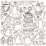 Coffee related doodle set.Linear tableware,beans,lettering Stock Images