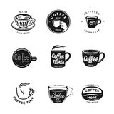Coffee related labels, badges and design elements set. Royalty Free Stock Photo