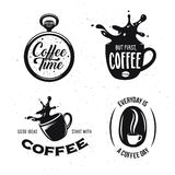 Coffee related quotes set. Coffee time. But first, coffee. Good ideas start with coffee. Everyday is a coffee day. Royalty Free Stock Photo