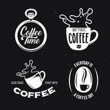 Coffee related quotes set. Vector vintage illustration. Coffee related quotes set. Coffee time. But first, coffee. Good ideas start with coffee. Everyday is a Royalty Free Stock Image