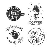 Coffee related vintage vector illustration with quotes. Coffee related illustration with quotes. Better latte than never. Coffee is a hug in a mug. But first Royalty Free Stock Image