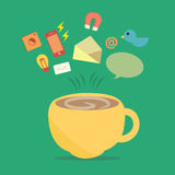 Coffee relax with application social network. Stock Image
