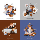 Coffee And Relax Icons Set. Coffee and relax in the morning icons set with inspiration and invigoration flat isolated vector illustration Stock Photos