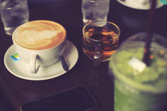Coffee relax time in cafe vintage color. Stock Photography