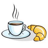 Coffee with сrescent сroissant Stock Image