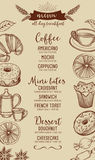 Coffee restaurant cafe menu, tea board template design. Royalty Free Stock Photography
