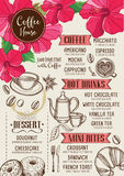 Coffee restaurant cafe menu, tea board template design. Royalty Free Stock Images