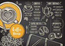 Coffee restaurant cafe menu, template design. Coffee restaurant brochure vector, coffee shop menu design. Vector cafe template with hand-drawn graphic. Coffee stock illustration