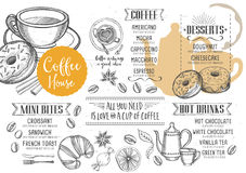 Coffee restaurant cafe menu, template design. Stock Photos