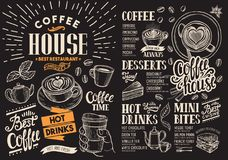 Coffee restaurant menu on chalkboard. Vector drink flyer for bar. And cafe. Design template with vintage hand-drawn food illustrations royalty free illustration