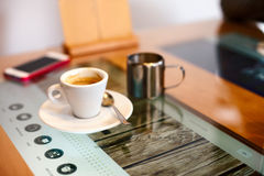 Coffee on restaurant modern table Stock Photo