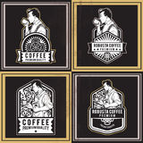 Coffee Retro Badges. Awesome vintage retro set of premium coffee badges and labels. Great for promoting premium coffee on-line or offline coffee shops and Stock Images