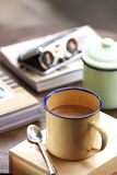 Coffee with retro cup. In the time of the memory Stock Images